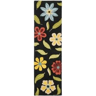 Safavieh Handmade Blossom Black Wool Rug (2'3 x 6')