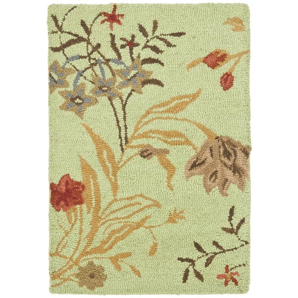 Safavieh Handmade Blossom Light Green Wool Rug (3' x 5')