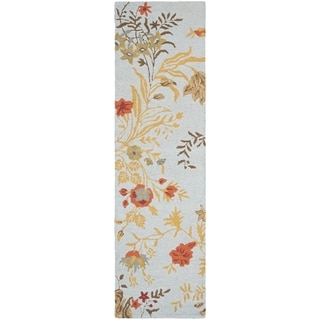 Safavieh Handmade Blossom Blue Wool Rug (2'3 x 11')