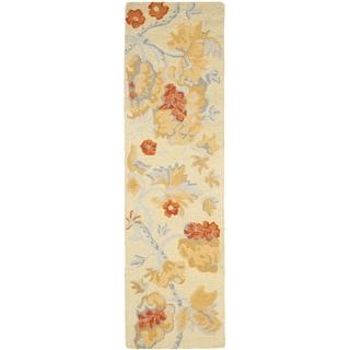 Handmade Blossom Beige Wool Rug (2'3 x 6')
