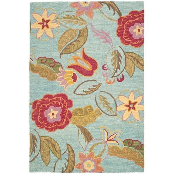Safavieh Handmade Blossom Blue Wool Area Rug