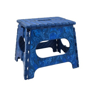 Three to Tango Blue Feather Swirl Folding Step Stool