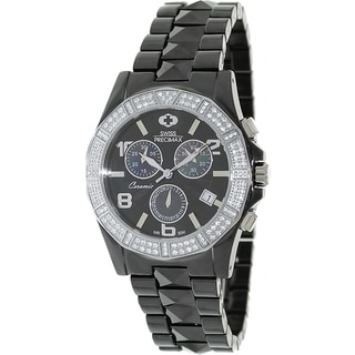 Swiss Precimax Women's Black Ceramic 'Luxe Elite' Chronograph Watch