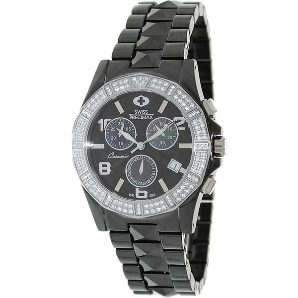 Swiss Precimax Women's Black Ceramic 'Luxe Elite' Chronograph Watch