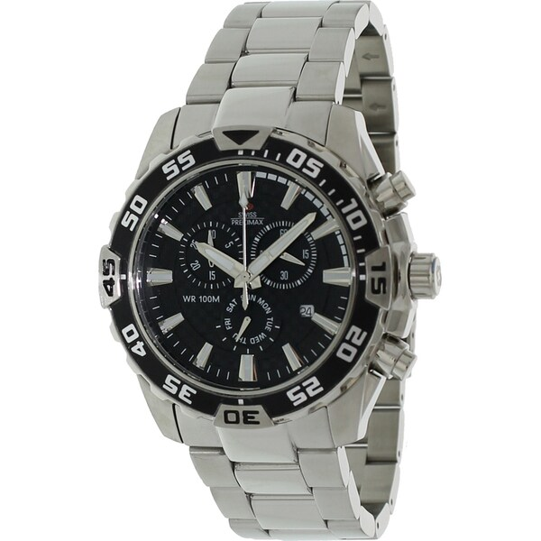 Swiss Precimax Men's Steel 'Formula-7 Pro' Chronograph Watch