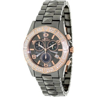 Swiss Precimax Women's Grey Ceramic 'Luxe Elite' Chronograph Watch