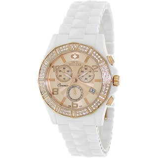 Swiss Precimax Women's White Ceramic 'Luxe Elite' Chronograph Watch