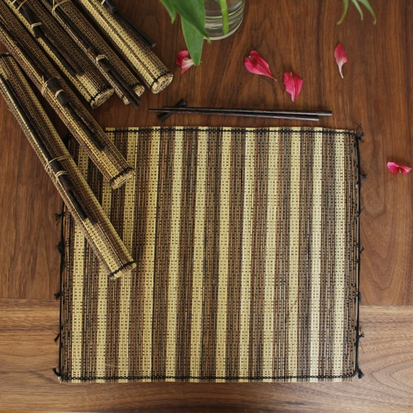 Set of Six Vetiver Placemat and Chopstick Gift Set (Indonesia)
