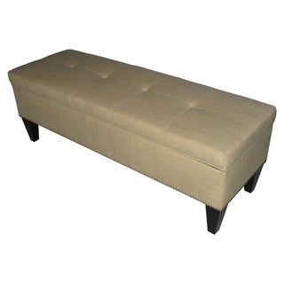 Brooke Button Tufted Loft Sand Storage Bench