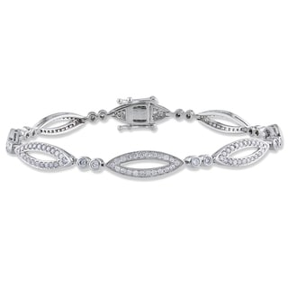 Miadora 14k White Gold 1 1/5ct TDW Diamond Bracelet (G-H, I1-I2)