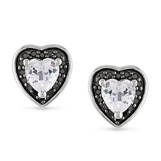 Miadora Sterling Silver White Topaz and 1/8ct TDW Black Diamond Earrings