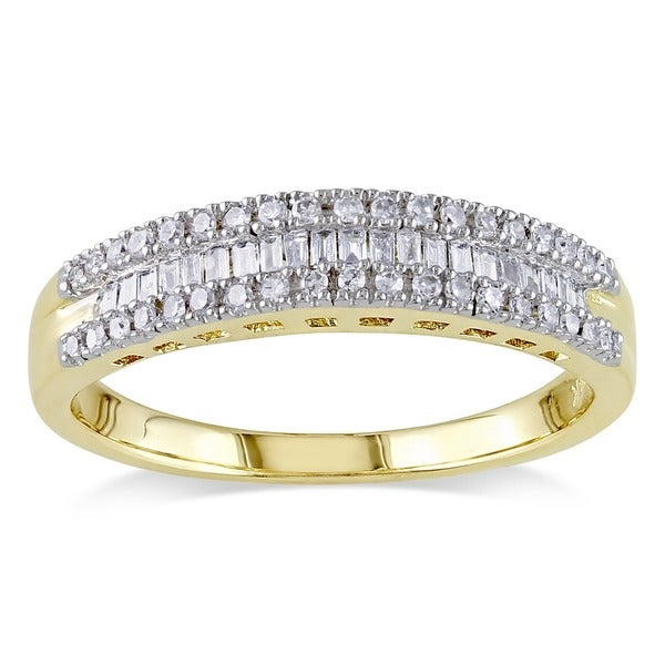 Miadora 14k Yellow Gold 1/4ct TDW Baguette-cut Channel-set Diamond Stackable Anniversary Band Ring (G-H, I1-I2)