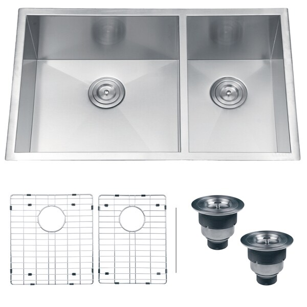 Ruvati RVH7515 Undermount 16 Gauge 32-inch Double Bowl Kitchen Sink ...