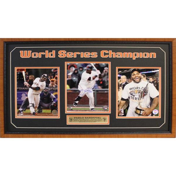 2012 World Series MVP Pablo Sandoval Autographed 15x35-inch 3-photo Frame