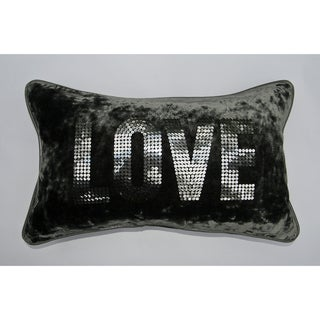 Jar Designs 'Love Grey Velvet' Throw Pillow