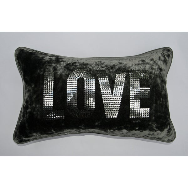 Jar Designs 'Love Grey Velvet' Throw Pillow