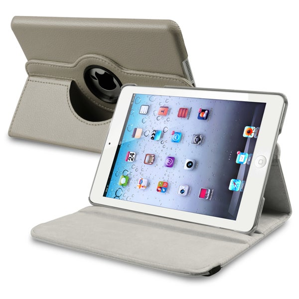 INSTEN Grey Leather Swivel Tablet Case Cover for Apple iPad Mini 1/ 2 Retina Display