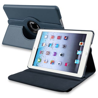 BasAcc Navy Blue Leather Swivel Case for Apple iPad Mini