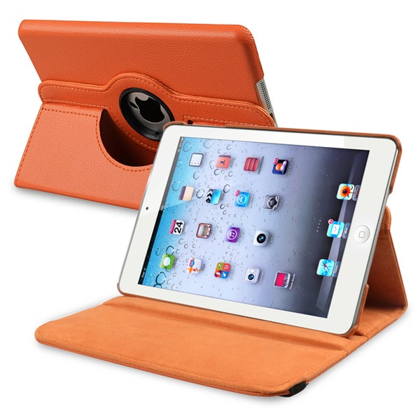 INSTEN Orange Leather Swivel Tablet Case Cover for Apple iPad Mini 1/ 2 Retina Display