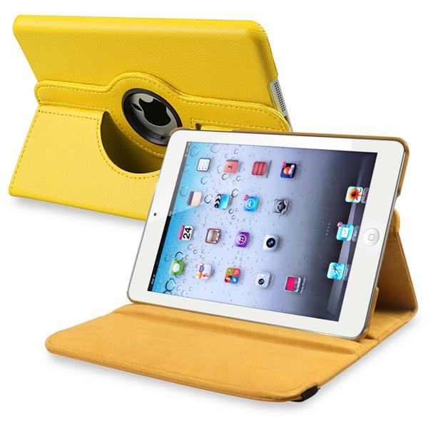 INSTEN Yellow Leather Swivel Tablet Case Cover for Apple iPad Mini 1/ 2 Retina Display