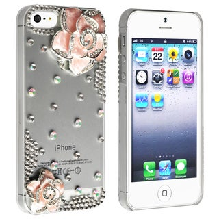 BasAcc Clear Diamond and Pink Flower Snap-on Case for Apple iPhone 5