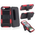 BasAcc Red/ Black Hybrid Case/ Holster with Stand for Apple iPhone 5