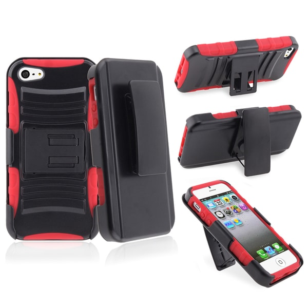 INSTEN Red/ Black Hybrid Phone Case Cover/ Holster with Stand for Apple iPhone 5
