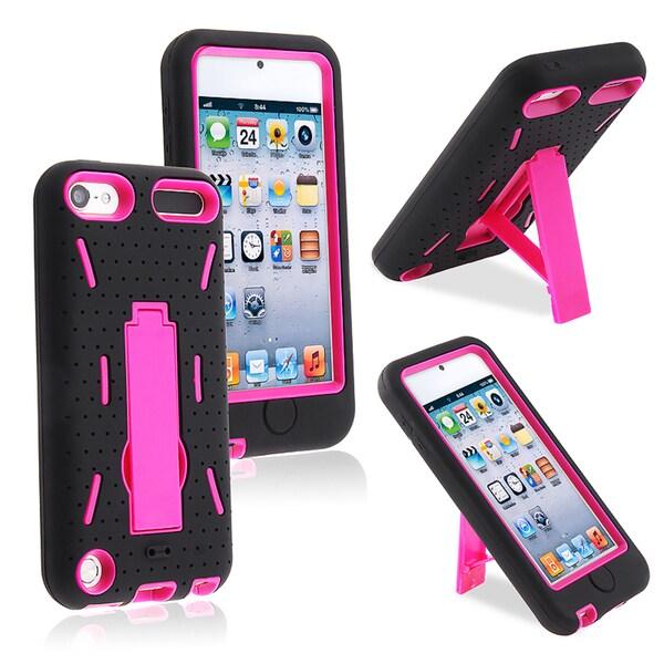 BasAcc Hot Pink Hard/ Black Skin Hybrid Case for Apple iPhone 5