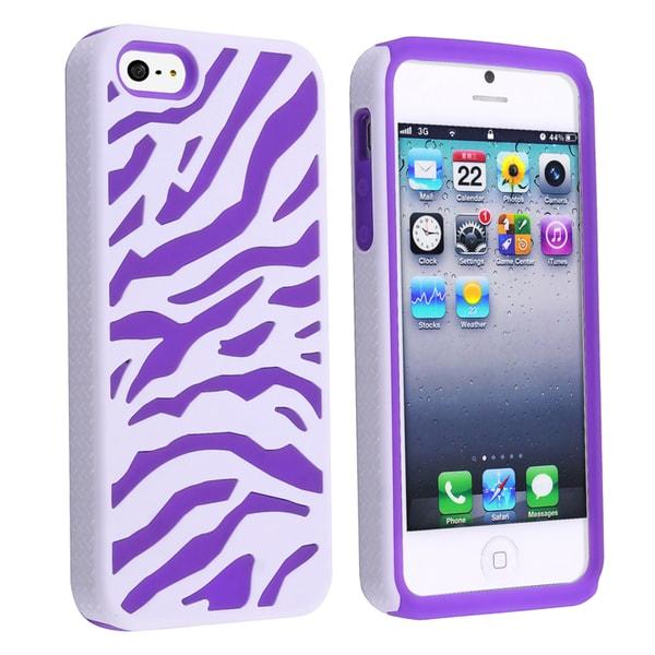 BasAcc Purple/ White Zebra Hybrid Case for Apple iPhone 5