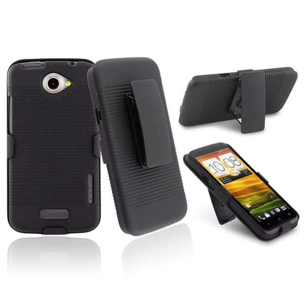 INSTEN Black Holster with Stand for HTC One X