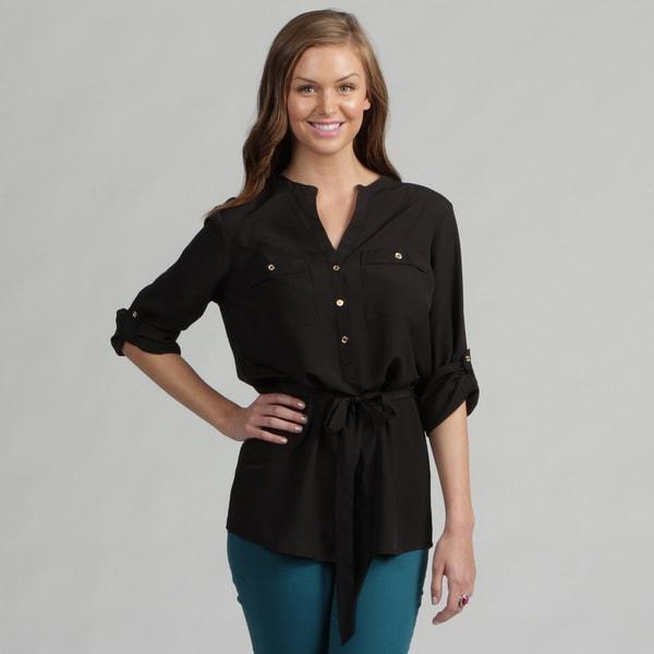 Calvin Klein Women's Jet Black Rolled Sleeve Top