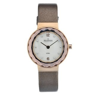 Skagen Women's Rose-gold Steel Crystal Leather Strap Watch