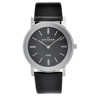 Skagen Men's Stainless Steel Black Leather Watch