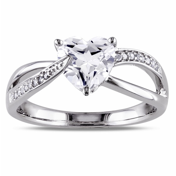 Miadora Sterling Silver White Sapphire and Diamond Heart Ring (H-I, I2-I3)