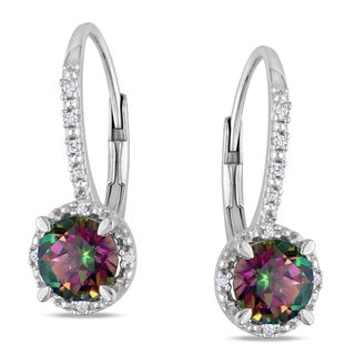 Miadora Sterling Silver Exotic Green Topaz and Diamond Earrings (H-I,I3)