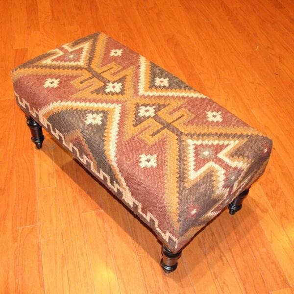 Handmade Kilim Dark Sheesham Wooden Leg Bench (India)