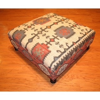 Handmade Kilim Dark Sheesham Wooden Ottoman (India)
