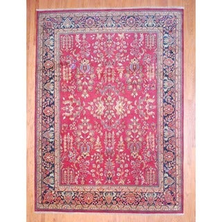 Indo Hand-knotted Sarouk Rust/ Navy Wool Rug (9' x 12')