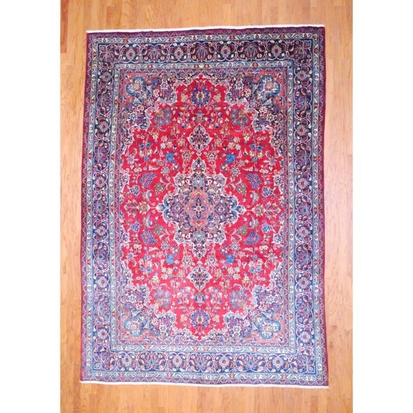 Persian Hand-knotted Mashad Red/ Navy Wool Rug (7'8 x 11'3)