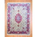 Persian Hand-knotted Kerman Green/ Red Wool Rug (8'1 x 11')