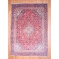 Persian Hand-knotted Kashan Red/ Navy Wool Rug (8'7 x 12'3)