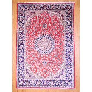 Persian Hand-knotted Isfahan Red/ Navy Wool Rug (8' x 11')
