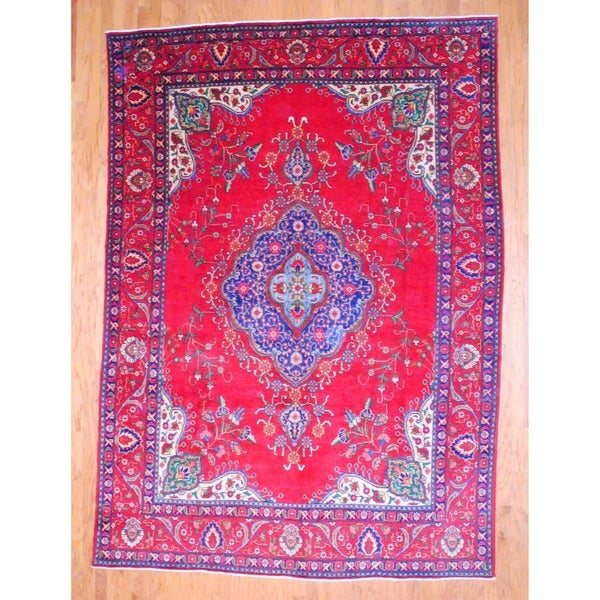 Persian Hand-knotted Tabriz Red/ Navy Wool Rug (8' x 11'1)