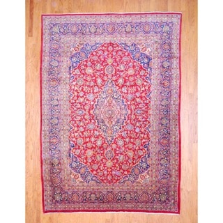 Persian Hand-knotted Kashan Red/ Navy Wool Rug (8' x 11'4)