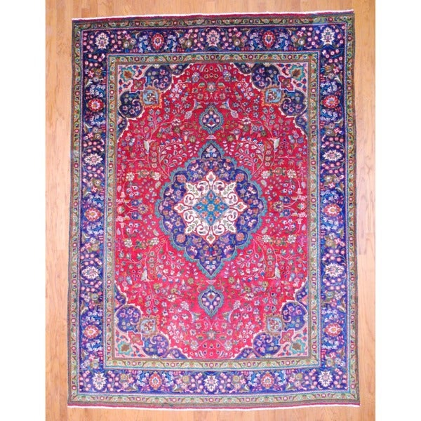 Persian Hand-knotted Tabriz Red/ Navy Wool Rug (8'4 x 11'5)