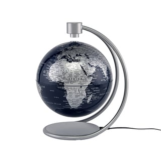 8-inch Metallic Silver / Blue Levitating Globe
