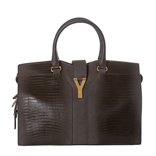 Yves Saint Laurent 'Cabas ChYc' Medium Grey Embossed Leather Tote Bag