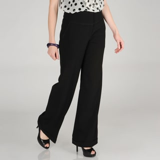 Hanna & Gracie Women's Black Wide-leg Trouser Pants with Cuffs