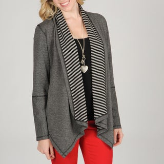 Hanna & Gracie Women's Striped Cozy Cardigan with Pointed Hem