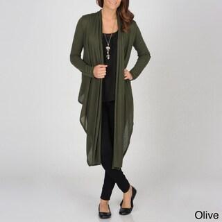 Hanna G Women's Cozy Cardigan with Asymmetrical Hem-line